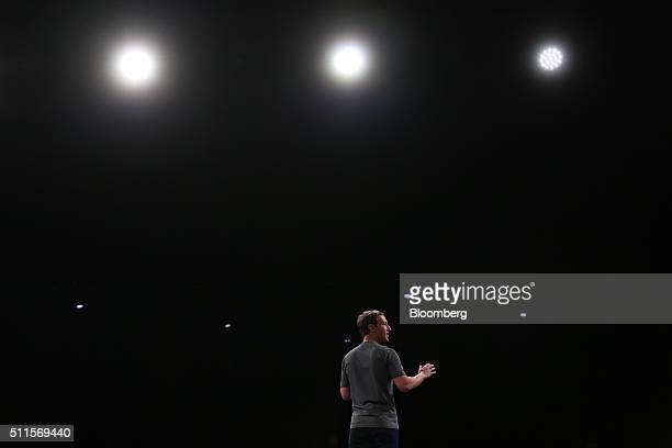 Mark Zuckerberg chief executive officer of Facebook Inc speaks at the Samsung Electronics Co Unpacked launch event ahead of the Mobile World Congress...