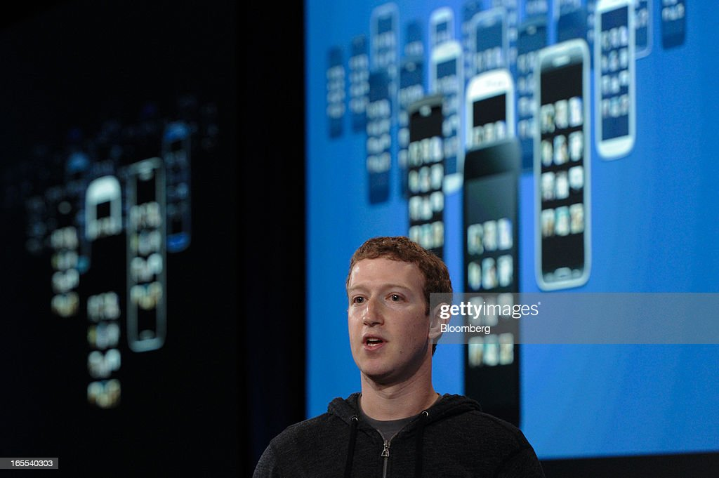 Mark Zuckerberg, chief executive officer of Facebook Inc., speaks during an event in Menlo Park, California, U.S., on Thursday, April 4, 2013. Facebook unveiled smartphone software called Home that puts social-networking features front and center on a handset, stepping up efforts to boost sales of advertising on small screens. Photographer: David Paul Morris/Bloomberg via Getty Images