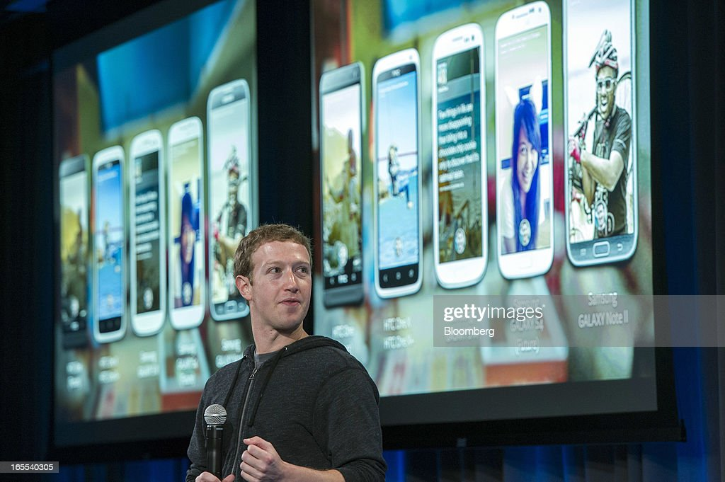<a gi-track='captionPersonalityLinkClicked' href=/galleries/search?phrase=Mark+Zuckerberg&family=editorial&specificpeople=4841191 ng-click='$event.stopPropagation()'>Mark Zuckerberg</a>, chief executive officer of Facebook Inc., speaks during an event in Menlo Park, California, U.S., on Thursday, April 4, 2013. Facebook unveiled smartphone software called Home that puts social-networking features front and center on a handset, stepping up efforts to boost sales of advertising on small screens. Photographer: David Paul Morris/Bloomberg via Getty Images