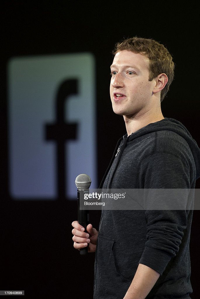 <a gi-track='captionPersonalityLinkClicked' href=/galleries/search?phrase=Mark+Zuckerberg&family=editorial&specificpeople=4841191 ng-click='$event.stopPropagation()'>Mark Zuckerberg</a>, chief executive officer of Facebook Inc., speaks during an event at the company's headquarters in Menlo Park, California, U.S., on Thursday, June 20, 2013. Facebook Inc., operator of the largest social network, plans to unveil video-sharing tools, bringing its Instagram into closer competition with Twitter Inc., a person with knowledge of the matter said. Photographer: David Paul Morris/Bloomberg via Getty Images