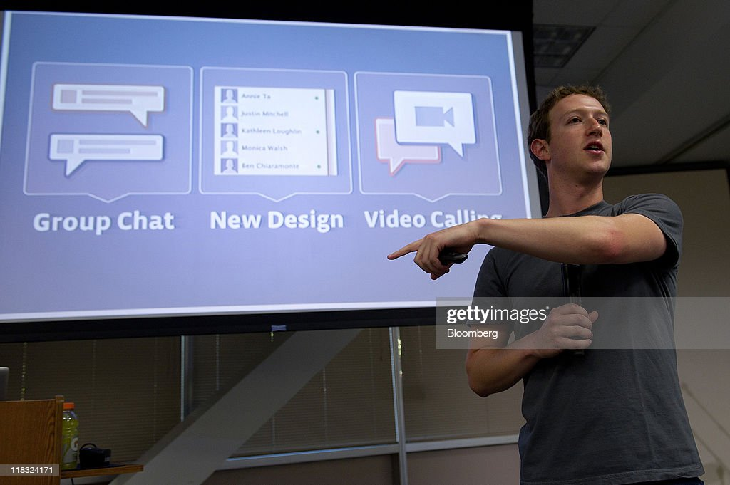 <a gi-track='captionPersonalityLinkClicked' href=/galleries/search?phrase=Mark+Zuckerberg&family=editorial&specificpeople=4841191 ng-click='$event.stopPropagation()'>Mark Zuckerberg</a>, co-founder and chief executive officer of Facebook Inc., speaks at a press event at Facebook headquarters in Palo Alto, California, U.S., on Wednesday, July 6, 2011. Facebook Inc., the world's largest social-networking service, is offering free video calls over its site through a partnership with Skype Technologies SA. Photographer: David Paul Morris/Bloomberg via Getty Images
