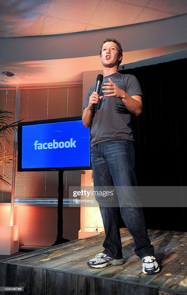 <a gi-track='captionPersonalityLinkClicked' href=/galleries/search?phrase=Mark+Zuckerberg&family=editorial&specificpeople=4841191 ng-click='$event.stopPropagation()'>Mark Zuckerberg</a>, founder and chief executive officer of Facebook Inc., speaks during a news conference at the company's headquarters in Palo Alto, California, U.S., on Wednesday, Aug. 18, 2010. Facebook Inc. unveiled a service that makes it easier for users to share their whereabouts with other people, making a deeper push into a fast-growing market pioneered by Foursquare Labs Inc. Photographer: Noah Berger/Bloomberg via Getty Images