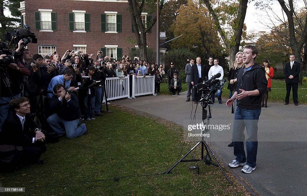 Mark Zuckerberg, founder and chief executive officer of Facebook Inc., speaks during a news conference at Harvard University in Cambridge, Massachusetts, U.S., on Monday, Nov. 7, 2011. Zuckerberg said Apple Inc. co-founder Steve Jobs advised him on how to sharpen his company's focus and build the right management team for the world's largest social network. Photographer: Kelvin Ma/Bloomberg via Getty Images
