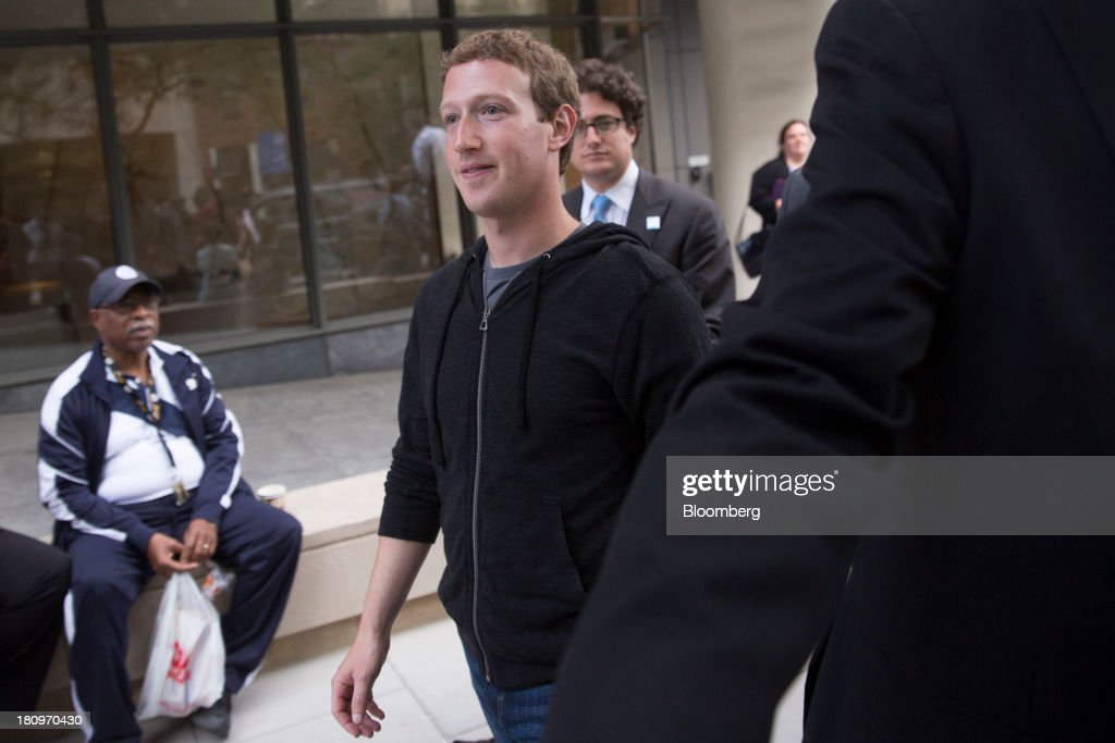 <a gi-track='captionPersonalityLinkClicked' href=/galleries/search?phrase=Mark+Zuckerberg&family=editorial&specificpeople=4841191 ng-click='$event.stopPropagation()'>Mark Zuckerberg</a>, founder and chief executive officer of Facebook Inc., leaves the Newseum following an interview in Washington, D.C., U.S., on Wednesday, Sept. 18, 2013. Zuckerberg said helping 11 million undocumented U.S. residents is the most important aspect of immigration issues he's exploring with congressional leaders during a Washington visit. Photographer: Andrew Harrer/Bloomberg via Getty Images