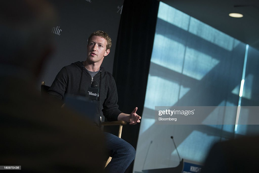 <a gi-track='captionPersonalityLinkClicked' href=/galleries/search?phrase=Mark+Zuckerberg&family=editorial&specificpeople=4841191 ng-click='$event.stopPropagation()'>Mark Zuckerberg</a>, founder and chief executive officer of Facebook Inc., speaks during an interview at the Newseum in Washington, D.C., U.S., on Wednesday, Sept. 18, 2013. Zuckerberg said helping 11 million undocumented U.S. residents is the most important aspect of immigration issues he's exploring with congressional leaders during a Washington visit. Photographer: Andrew Harrer/Bloomberg via Getty Images