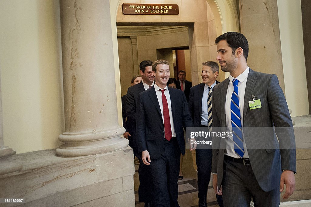 <a gi-track='captionPersonalityLinkClicked' href=/galleries/search?phrase=Mark+Zuckerberg&family=editorial&specificpeople=4841191 ng-click='$event.stopPropagation()'>Mark Zuckerberg</a>, founder and chief executive officer of Facebook Inc., left, leaves House Speaker John Boehner's office after a meeting with members of the House Republican Leadership in Washington, D.C., U.S., on Thursday, Sept. 19, 2013. Zuckerberg in April announced the formation of an advocacy group, Fwd.us, to push for more visas for skilled immigrant workers. Photographer: Pete Marovich/Bloomberg via Getty Images