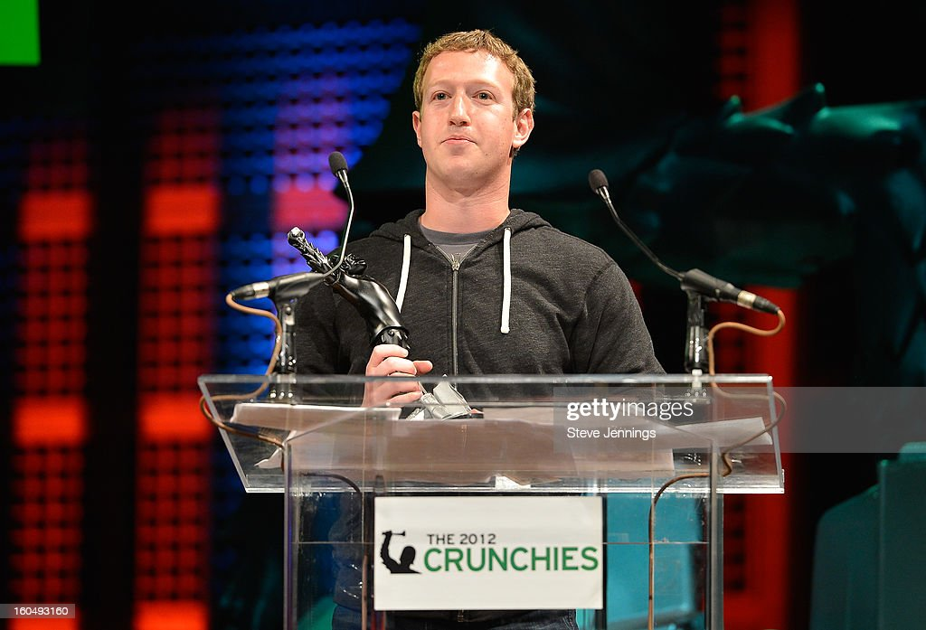 Mark Zuckerberg winner for CEO of the Year at the 6th Annual Crunchies Awards at Davies Symphony Hall on January 31, 2013 in San Francisco, California.