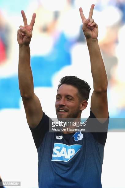 MarkAlexander Uth of Hoffenheim reacts after winning the Bundesliga match between TSG 1899 Hoffenheim and SV Werder Bremen at Wirsol RheinNeckarArena...