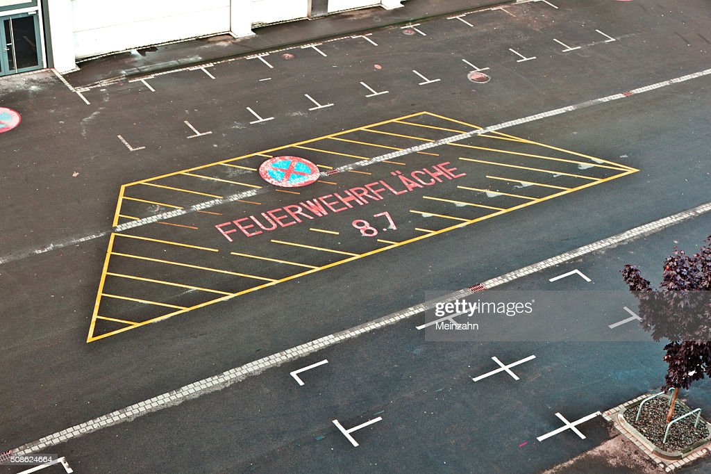 marked parking lot for fire brigade : Stock Photo