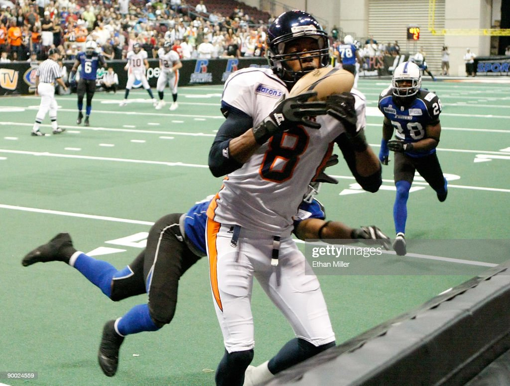 Markee White #8 of the Spokane Shock catches a touchdown pass during the team's 74-27 victory over the Wilkes-Barre/Scranton Pioneers in the AFL2 ArenaCup 10 at the Orleans Arena August 22, 2009 in Las Vegas, Nevada.