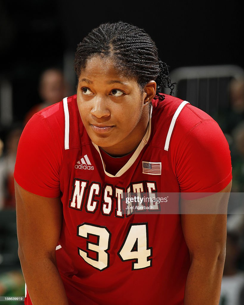 Markeisha Gatling #34 of the North Carolina State Wolfpack looks on during free throws against the Miami Hurricanes on December 20, 2012 at the BankUnited Center in Coral Gables, Florida. The Hurricanes defeated the Wolfpack 79-53.