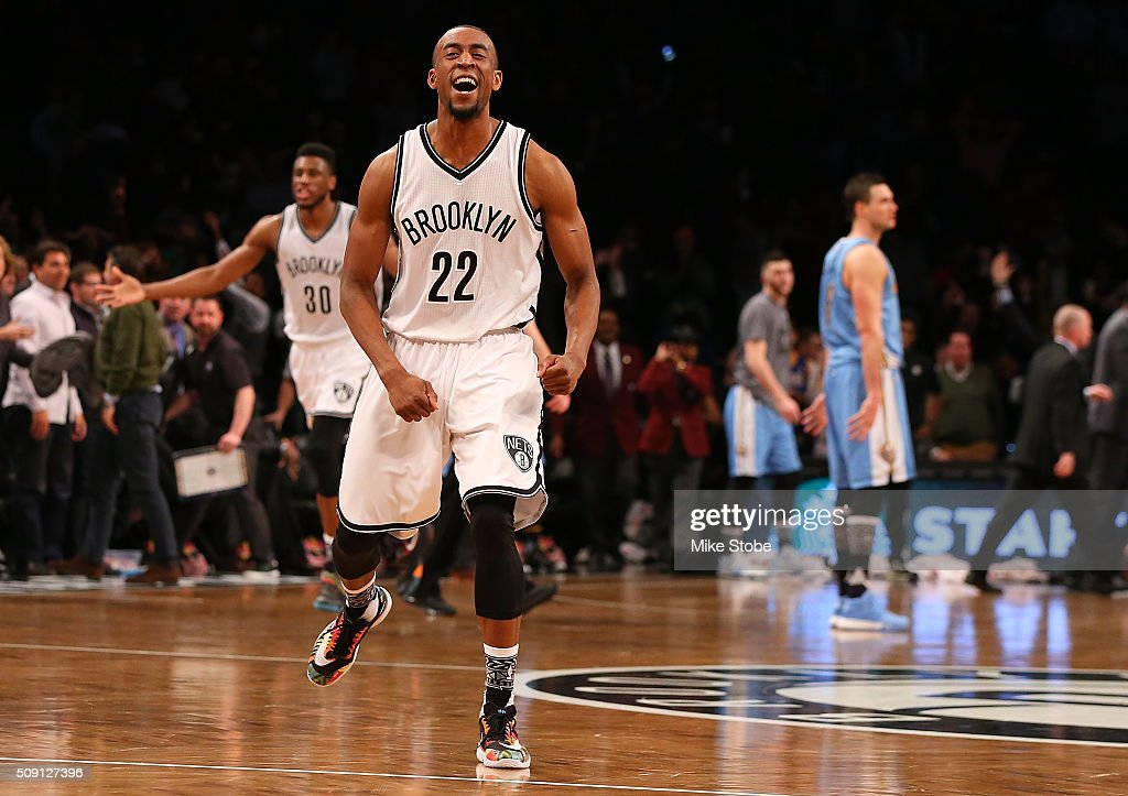Markel Brown #22 of the Brooklyn Nets celebrates after Joe Johnson (not pictured) hit the game winning three point basket against the Denver Nuggets at the Barclays Center on February 8, 2016 in Brooklyn borough of New York City.