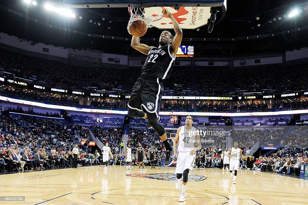 <a gi-track='captionPersonalityLinkClicked' href=/galleries/search?phrase=Markel+Brown&family=editorial&specificpeople=7542399 ng-click='$event.stopPropagation()'>Markel Brown</a> #22 of the Brooklyn Nets dunks against the New Orleans Pelicans during the first half of a game at the Smoothie King Center on February 25, 2015 in New Orleans, Louisiana.