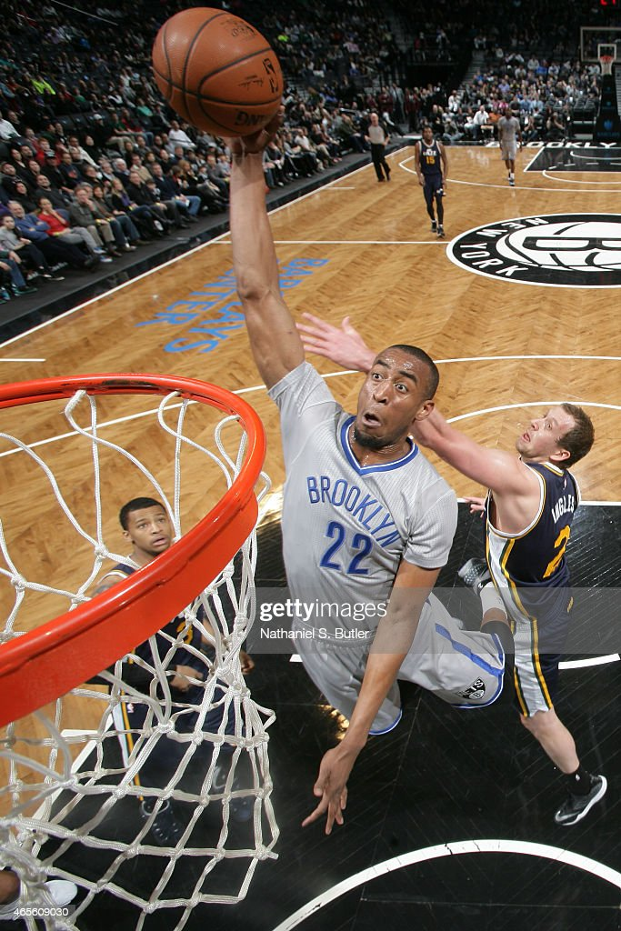 <a gi-track='captionPersonalityLinkClicked' href=/galleries/search?phrase=Markel+Brown&family=editorial&specificpeople=7542399 ng-click='$event.stopPropagation()'>Markel Brown</a> #22 of the Brooklyn Nets dunks against the Utah Jazz during the game on March 8, 2015 at Barclays Center in Brooklyn, New York.