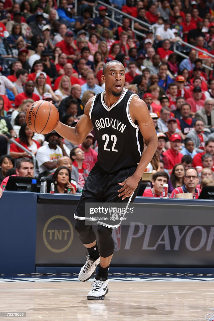<a gi-track='captionPersonalityLinkClicked' href=/galleries/search?phrase=Markel+Brown&family=editorial&specificpeople=7542399 ng-click='$event.stopPropagation()'>Markel Brown</a> #22 of the Brooklyn Nets handles the ball against the Atlanta Hawks in Game One of the Eastern Conference Quarterfinals during the NBA Playoffs on April 19, 2015 at Philips Arena in Atlanta, Georgia.
