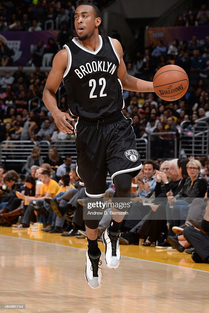 Markel Brown #22 of the Brooklyn Nets handles the ball against the Los Angeles Lakers during the game on February 20, 2015 at STAPLES Center in Los Angeles, California.