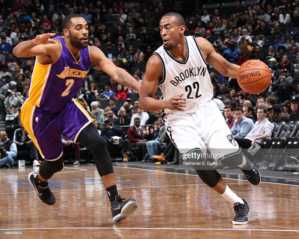<a gi-track='captionPersonalityLinkClicked' href=/galleries/search?phrase=Markel+Brown&family=editorial&specificpeople=7542399 ng-click='$event.stopPropagation()'>Markel Brown</a> #22 of the Brooklyn Nets handles the ball against the Los Angeles Lakers on March 29, 2015 at the Barclays Center in the Brooklyn borough of New York City.