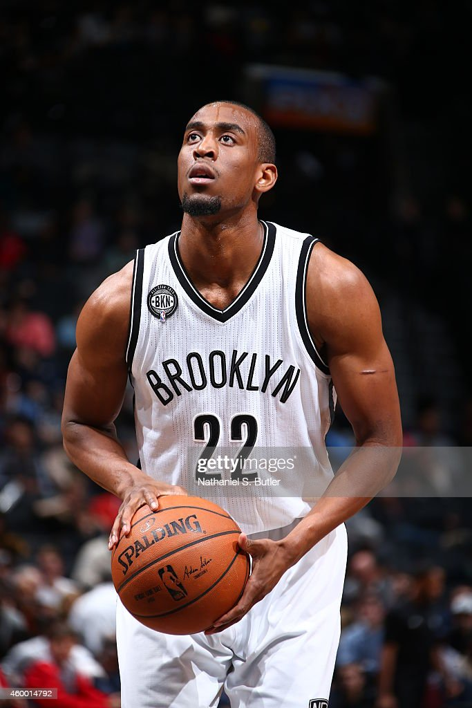 Markel Brown #22 of the Brooklyn Nets prepares to shoot a free throw against the Atlanta Hawks on December 5, 2014 at the Barclays Center in the Brooklyn borough of New York City.