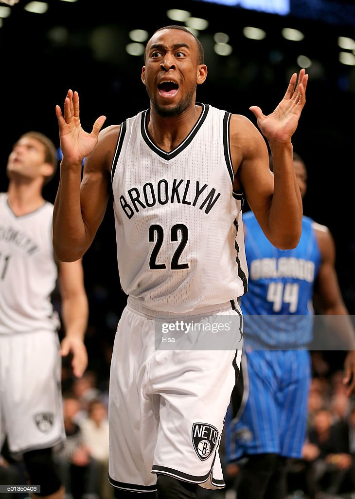 <a gi-track='captionPersonalityLinkClicked' href=/galleries/search?phrase=Markel+Brown&family=editorial&specificpeople=7542399 ng-click='$event.stopPropagation()'>Markel Brown</a> #22 of the Brooklyn Nets reacts after he is called for a foul in the first half against the Orlando Magic at Barclays Center on December 14, 2015 in the Brooklyn borough of New York City.NOTE