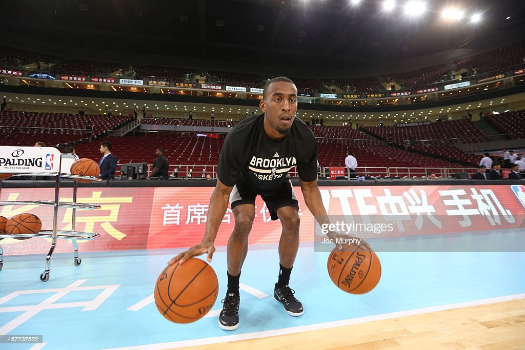 Markel Brown #22 of the Brooklyn Nets warms up prior to the game against the Sacramento Kings as part of the 2014 NBA Global Games at the MasterCard Center on October 15, 2014 in Beijing, China.