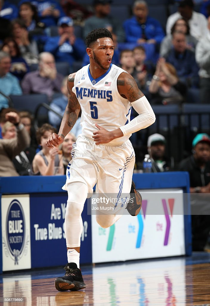 Markel Crawford #5 of the Memphis Tigers celebrates after a play against the Cincinnati Bearcats on February 6, 2016 at FedExForum in Memphis. Memphis defeated Cincinnati 63-59.