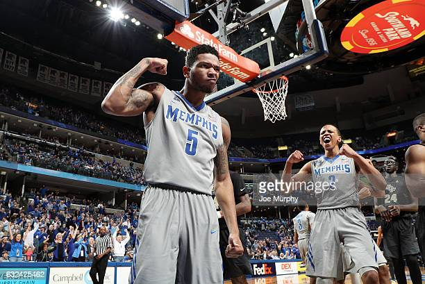 Markel Crawford of the Memphis Tigers celebrates with Jimario Rivers of the Memphis Tigers against the Central Florida Knights on January 22 2017 at...