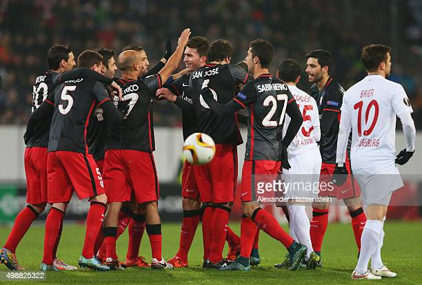 Markel Susaeta of Athletic Bilbao celebrates with team mates as he scores their first goal during the UEFA Europa League Group L match between FC...