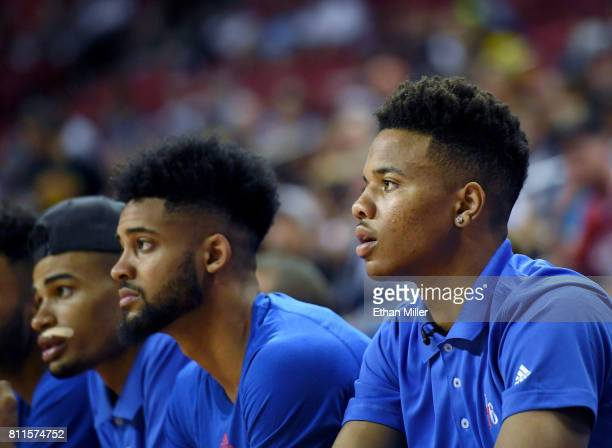 Markelle Fultz of the Philadelphia 76ers looks on from the bench during his team's 2017 Summer League game against the San Antonio Spurs at the...