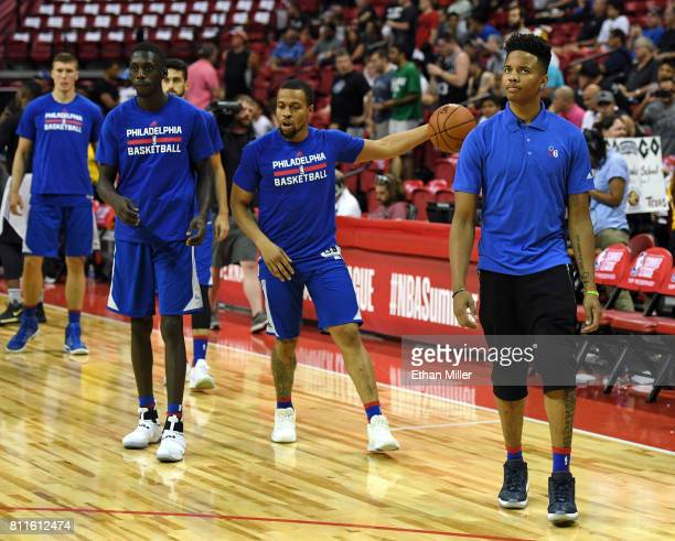 Markelle Fultz of the Philadelphia 76ers stands on the court with his teammates as they warm up before a 2017 Summer League game against the San...