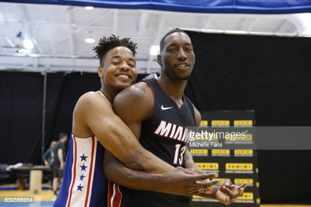 Markelle Fultz and Bam Adebayo of the Miami Heat behind the scenes during the 2017 NBA Rookie Photo Shoot at MSG training center on August 11 2017 in...