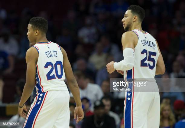 Markelle Fultz and Ben Simmons of the Philadelphia 76ers play against the Memphis Grizzlies during the preseason game at the Wells Fargo Center on...