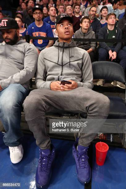Markelle Fultz attends a game between the Toronto Raptors and the New York Knicks on April 9 2017 at Madison Square Garden in New York City New York...