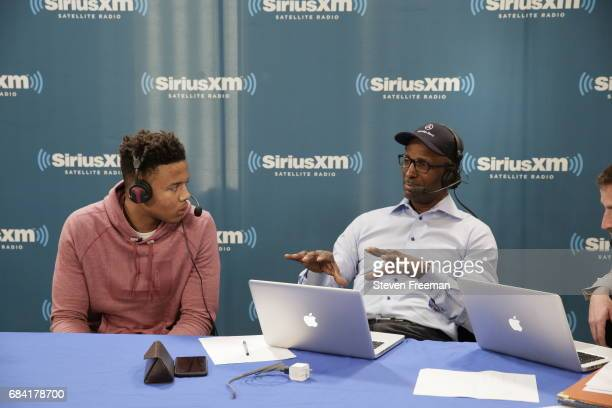 Markelle Fultz interviews at Sirius XM Radio prior to the draft lottery on May 15 2017 in New York New York NOTE TO USER User expressly acknowledges...