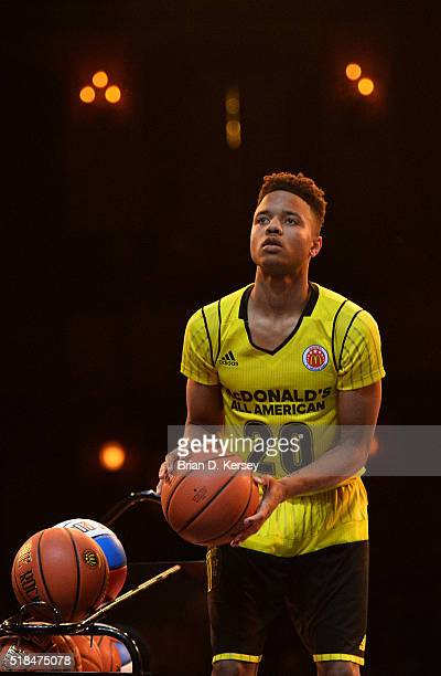 Markelle Fultz of the East shoots during the threepoint contest at the McDonald's All American Game Jam Fest at the Chicago Theatre on March 28 2016...