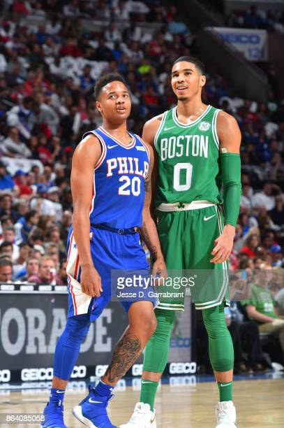 Markelle Fultz of the Philadelphia 76ers and Jayson Tatum of the Boston Celtics are seen during the game on October 20 2017 at Wells Fargo Center in...