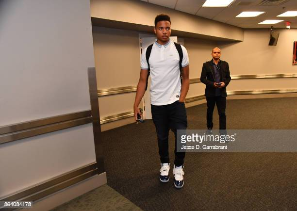Markelle Fultz of the Philadelphia 76ers arrives before the game against the Boston Celtics on October 20 2017 at Wells Fargo Center in Philadelphia...
