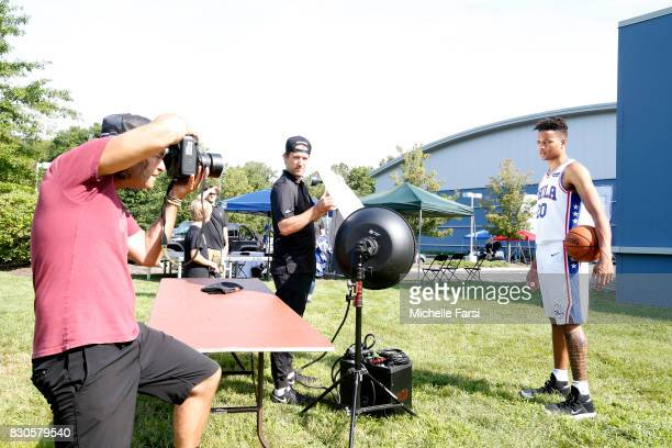 Markelle Fultz of the Philadelphia 76ers behind the scenes during the 2017 NBA Rookie Photo Shoot at MSG training center on August 11 2017 in...