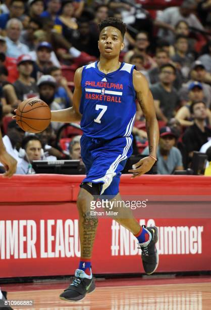 Markelle Fultz of the Philadelphia 76ers brings the ball up the court against the Golden State Warriors during the 2017 Summer League at the Thomas...
