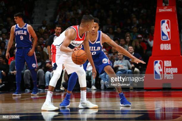 Markelle Fultz of the Philadelphia 76ers defends against the Washington Wizards on October 18 2017 at Capital One Arena in Washington DC NOTE TO USER...