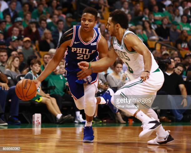 Markelle Fultz of the Philadelphia 76ers Dribbles down the court during the second half of the game against the Boston Celtics at TD Garden on...
