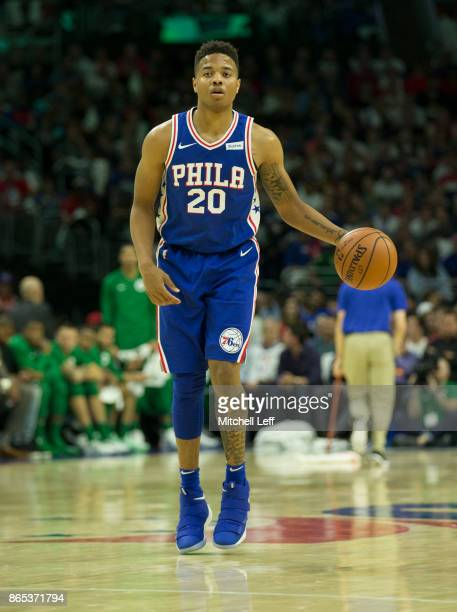 Markelle Fultz of the Philadelphia 76ers dribbles the ball against the Boston Celtics at the Wells Fargo Center on October 20 2017 in Philadelphia...