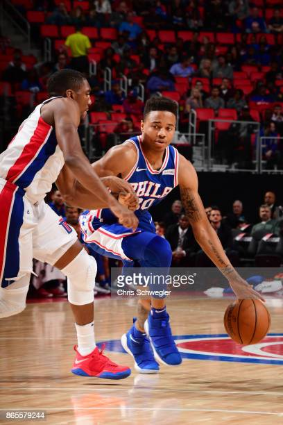 Markelle Fultz of the Philadelphia 76ers drives against the Detroit Pistons on October 23 2017 at Little Caesars Arena in Detroit Michigan NOTE TO...