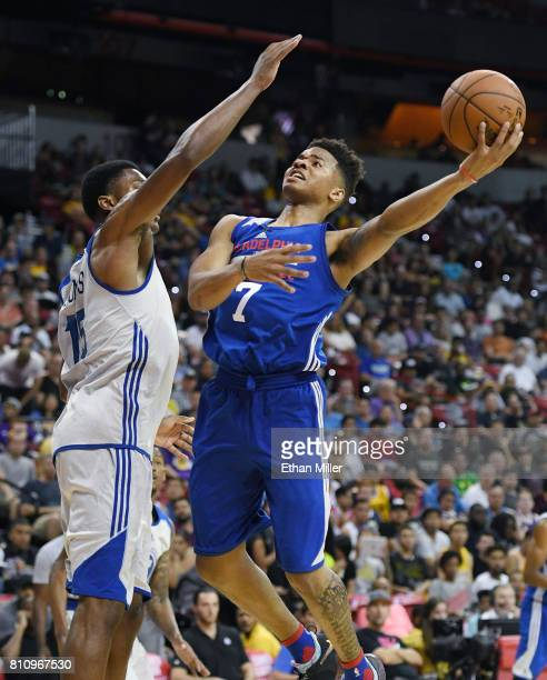Markelle Fultz of the Philadelphia 76ers drives to the basket against Damian Jones of the Golden State Warriors during the 2017 Summer League at the...