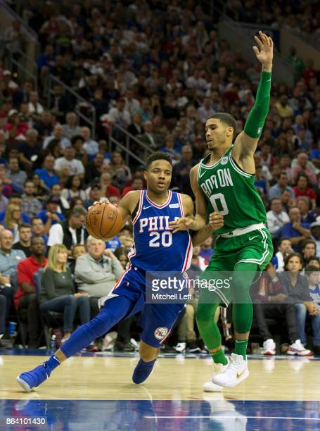 Markelle Fultz of the Philadelphia 76ers drives to the basket against Jayson Tatum of the Boston Celtics in the fourth quarter at the Wells Fargo...