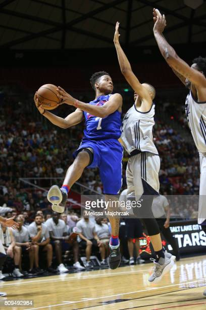 Markelle Fultz of the Philadelphia 76ers goes for a lay up against the Utah Jazz on July 5 2017 during the 2017 NBA Utah Summer League game at the...