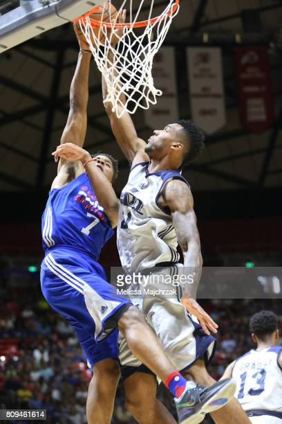 Markelle Fultz of the Philadelphia 76ers goes to the basket against the Utah Jazz on July 5 2017 during the 2017 NBA Utah Summer League game at the...