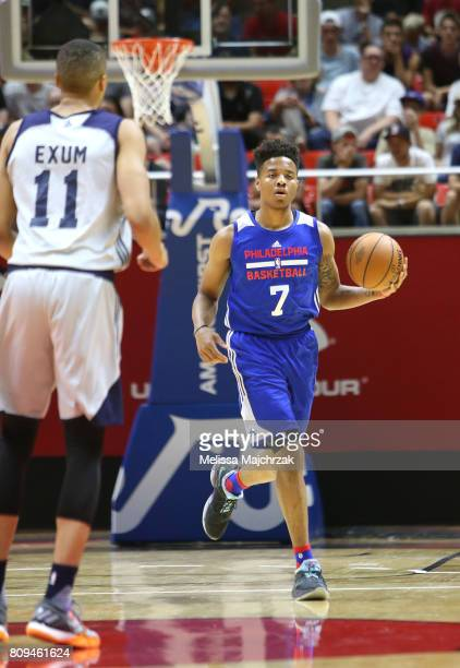 Markelle Fultz of the Philadelphia 76ers handles the ball against the Utah Jazz on July 5 2017 during the 2017 NBA Utah Summer League game at the Jon...