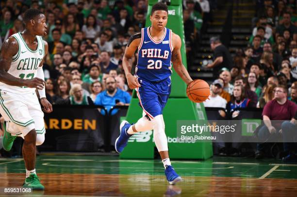 Markelle Fultz of the Philadelphia 76ers handles the ball against the Boston Celtics during the preseason game on October 9 2017 at the TD Garden in...
