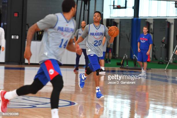 Markelle Fultz of the Philadelphia 76ers handles the ball during practice on September 27 2017 at the Sixers Training Complex in Camden New Jersey...