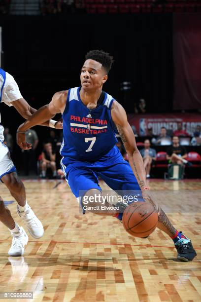 Markelle Fultz of the Philadelphia 76ers handles the ball during the game against the Golden State Warriors during the 2017 Las Vegas Summer League...
